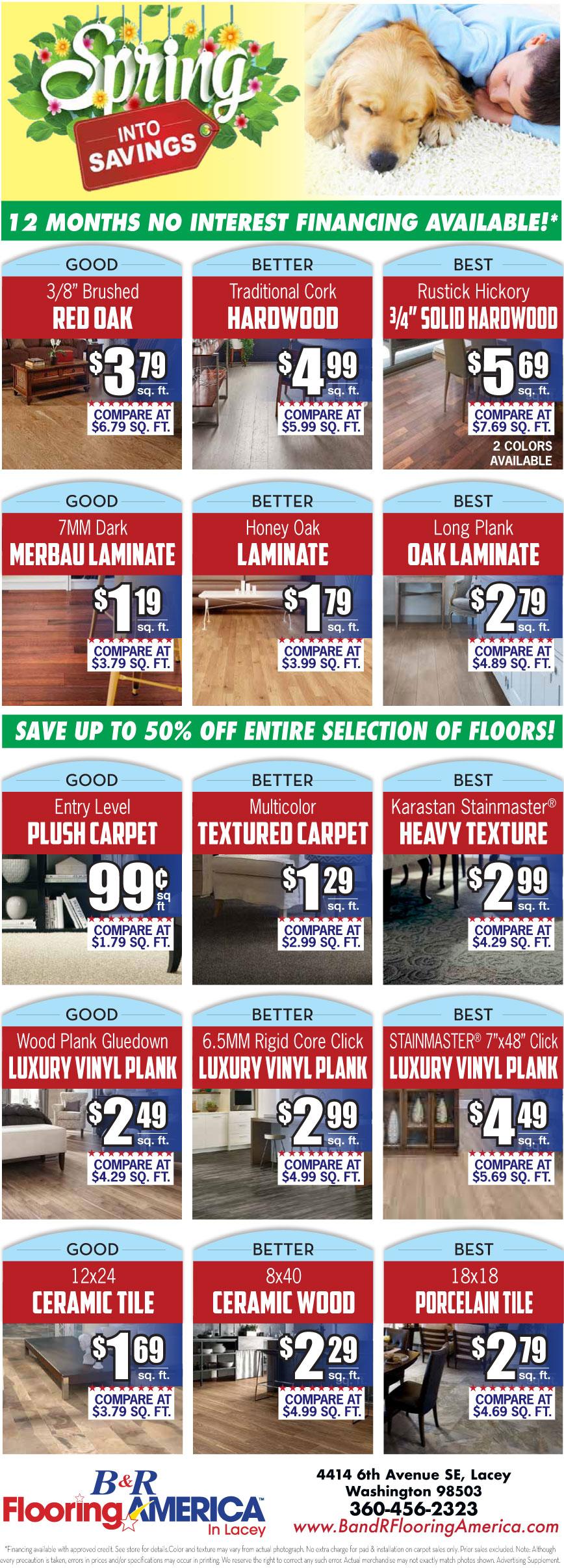 Hardwood, laminate, carpet, luxury vinyl plank and ceramic flooring